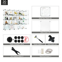 Load image into Gallery viewer, Greenstell DIY Cube Storage 20 Cubes White With Doors
