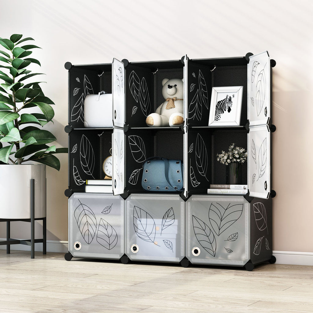 Greenstell Plastic Stackable Portable Cube Storage 9 Closet Cubes Black With Doors
