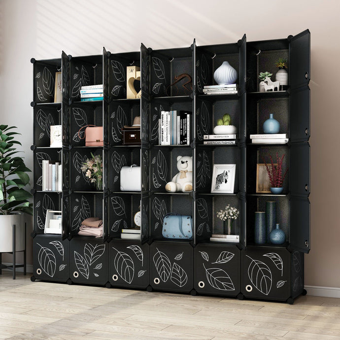 Greenstell DIY Cube Storage 30 Cubes Black With Doors