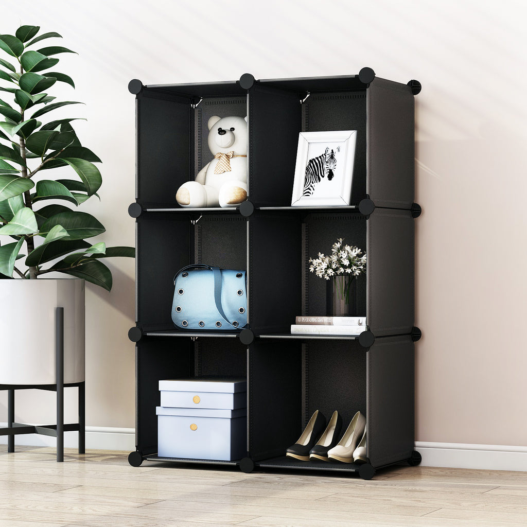 Greenstell Plastic Stackable Cube Storage 6 Closet Cubes Black
