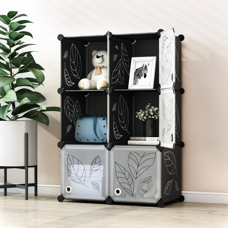 Greenstell Plastic Stackable Cube Storage 6 Portable Closet Cubes Black With Doors