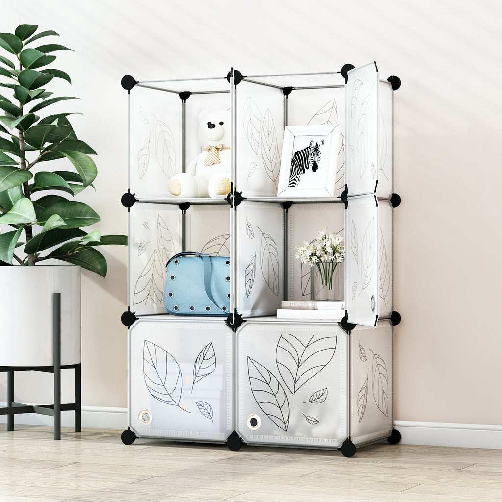 Greenstell Plastic Stackable Cube Storage 6 Portable Closet Cubes White With Doors