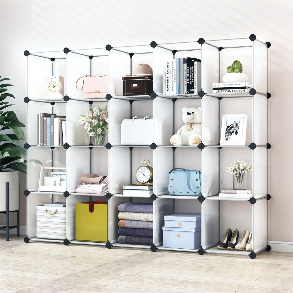 Greenstell Plastic Stackable Cube Storage Organizer 20 Closet Cubes White