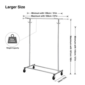 Greenstell Extendable Hanging Rail Rolling Garment Rack with PVC Cover