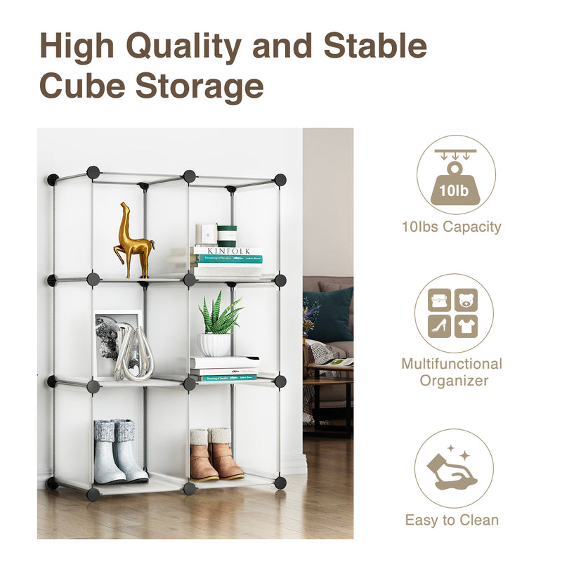 Greenstell Plastic Stackable Cube Storage 6 Closet Cubes White