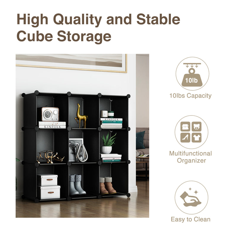 Greenstell Plastic Stackable Cube Storage 9 Closet Cubes Black