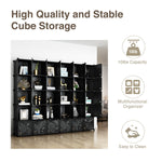 Greenstell 30 Portable Cubes Plastic Stackable Cube Storage Organizer Closet Cubes Black With Doors