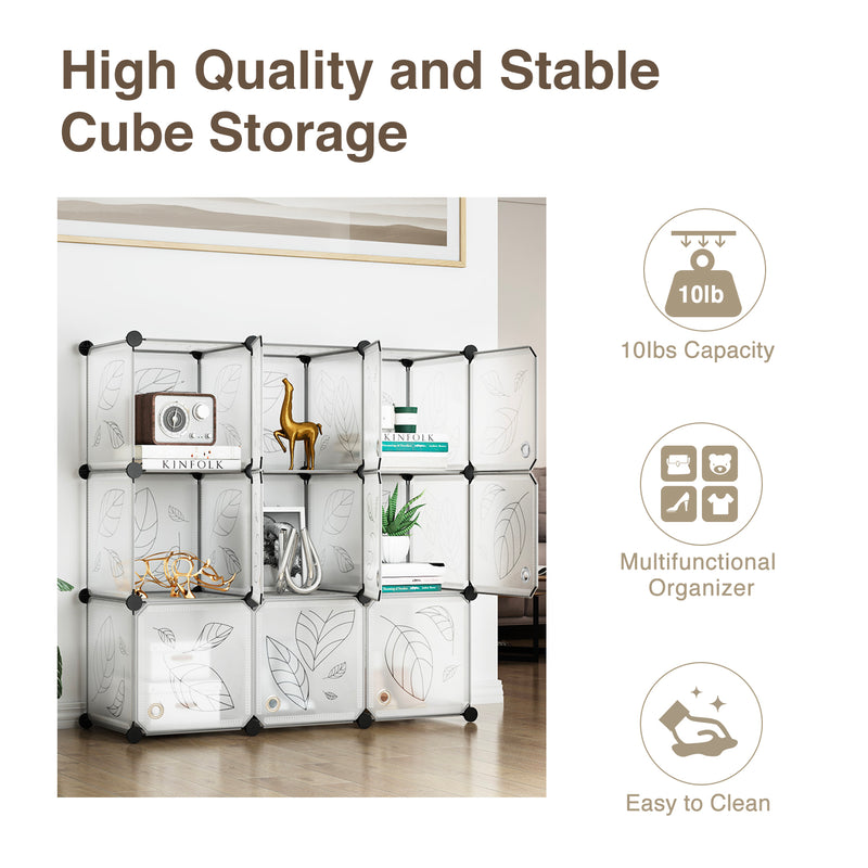 Greenstell Plastic Stackable Cube Storage 9 Portable Closet Cubes White With Doors