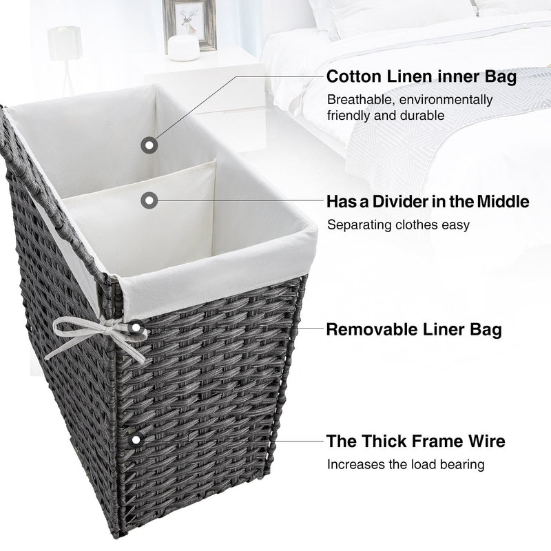 Greenstell Handwoven Synthetic Rattan Laundry Hamper Large (22*12*24 in)