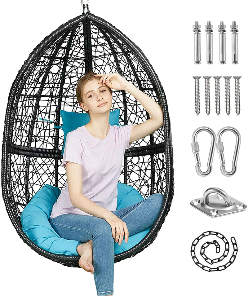 Greenstell Hammock Swing Stand+Egg Hammock Chair Black+Blue Cushion Pillow