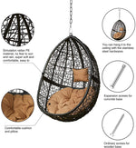 Greenstell Hammock Swing Stand+Egg Hammock Chair Black+Coffee Cushion Pillow
