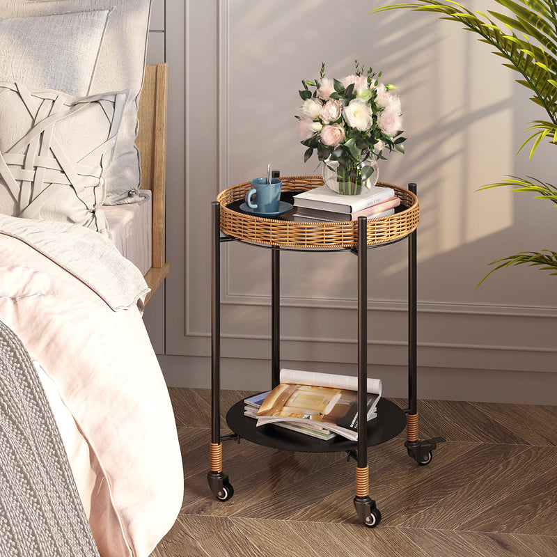 Greenstell Side Table, Rustic Rattan Tray Metal on Wheels, 2-Tier Folding Round End Table
