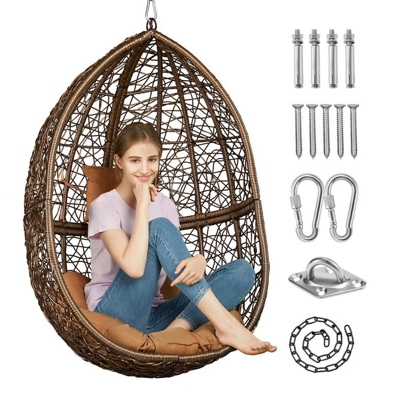 Greenstell Handmade Rattan Wicker Hanging Egg Hammock Chairs Cafe Cushion