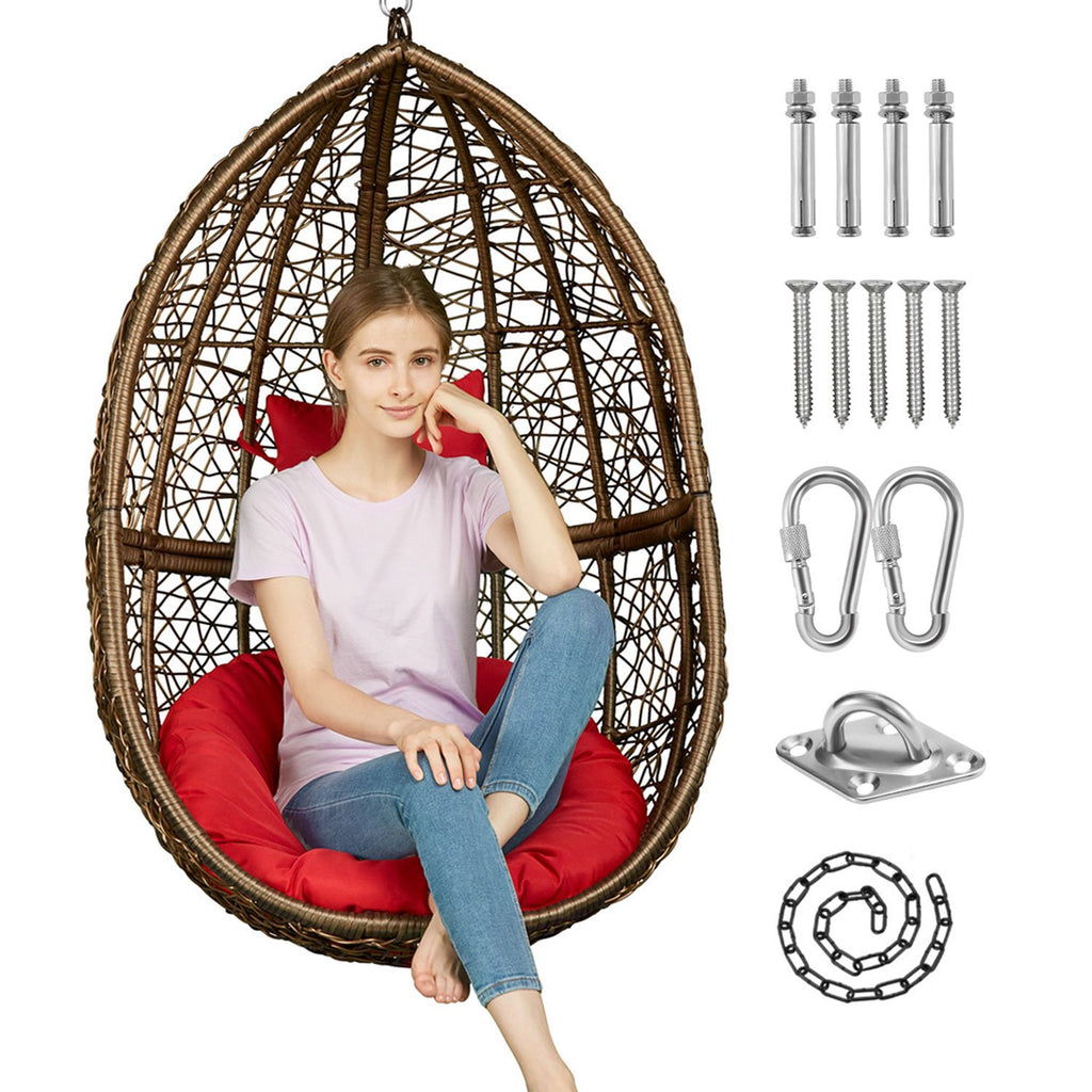 Greenstell Handmade Rattan Wicker Hanging Egg Hammock Chairs Red Cushion