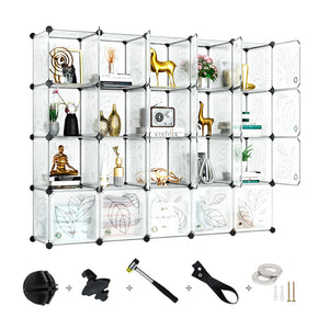 Greenstell DIY Cube Storage 20 Cubes White With Doors