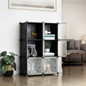 Greenstell DIY Cube Storage 6 Cubes Black With Doors