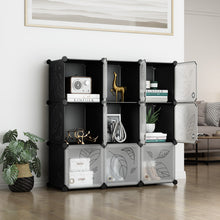Load image into Gallery viewer, Greenstell DIY Cube Storage 9 Cubes Black With Doors