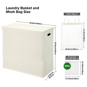 Greenstell Double Collapsible Laundry Hamper With Lid and Mesh Bag