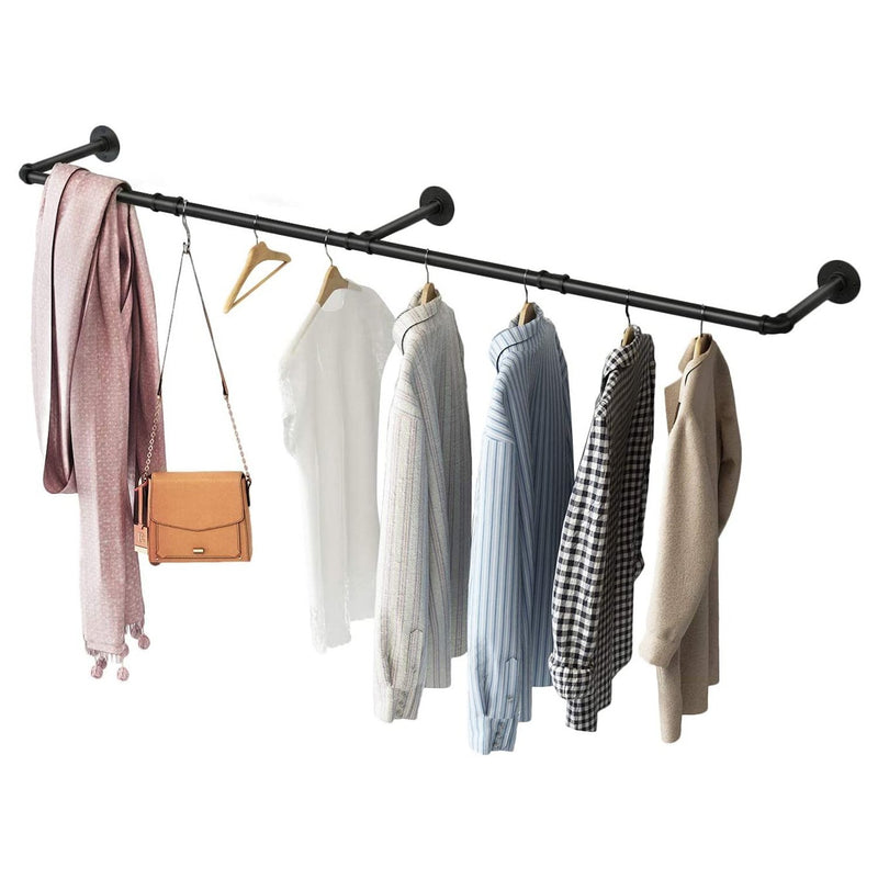 Greenstell Industrial Pipe Wall Mounted Clothes Rack Long (72*10 in)