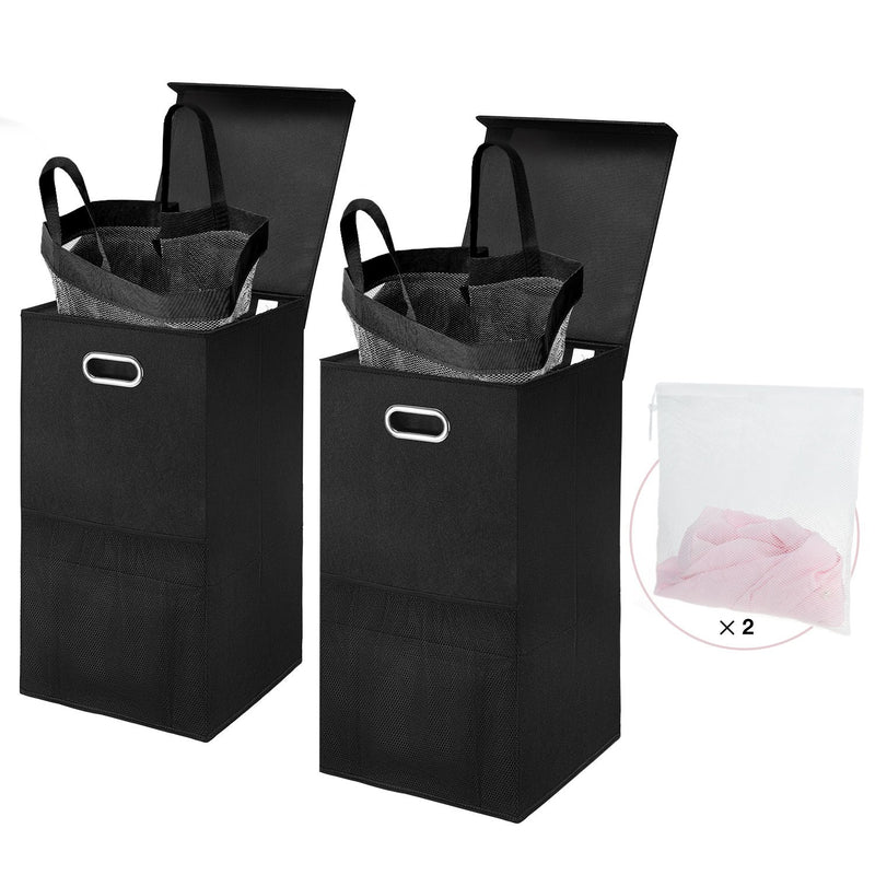 Greenstell Foldable Laundry Basket With Lid and Oval Handles 2 Packs