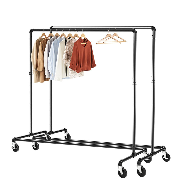Greenstell Rolling Industrial Pipe Z Base Clothes Rack 2 Packs  (24*63*59 in)