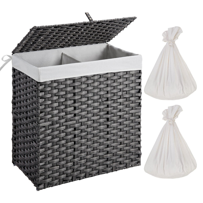 Greenstell Woven Synthetic Rattan Collapsible Laundry Hamper Large (22*12*24 in)