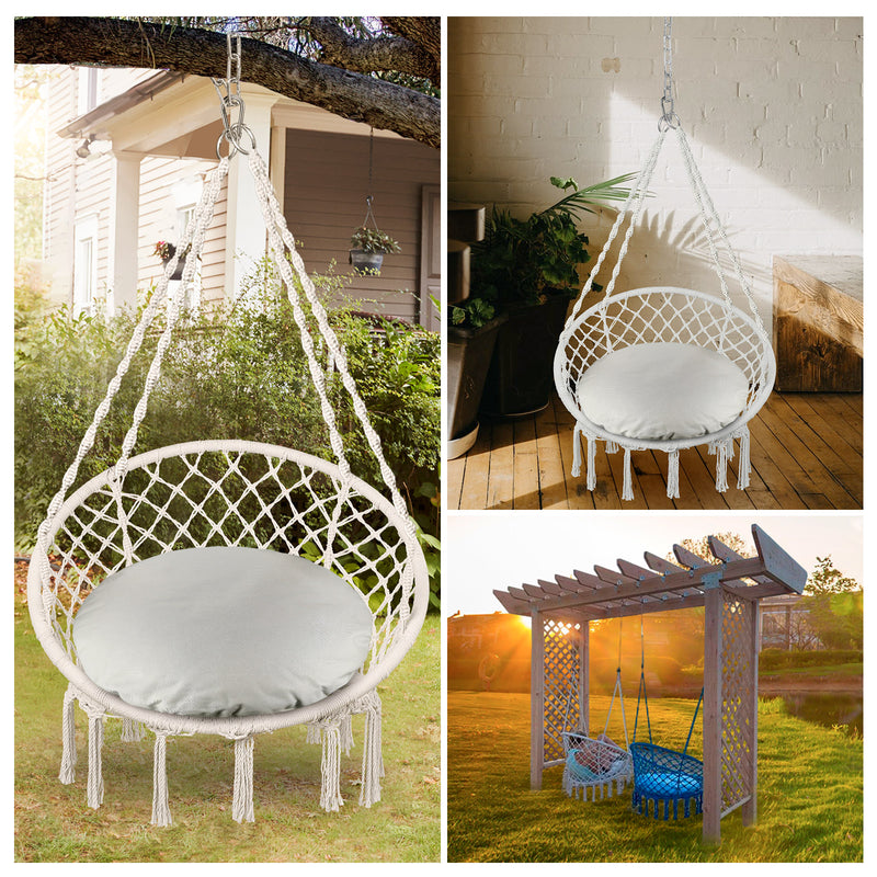 Greenstell Handmade Macrame Swing Chair Hammock Chair Large (40.2*32.7inch)