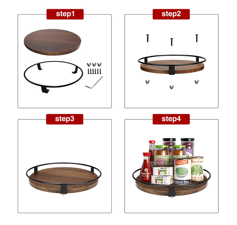 Greenstell Lazy Susan 10 Inches Round Wood Rotating Spice Rack Dark Brown