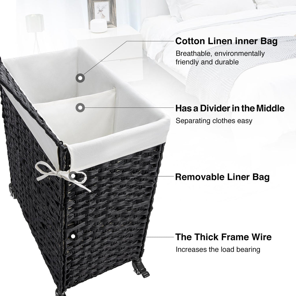 Greenstell Woven Rattan Divided Collapsible Hamper on Wheels, 2 Removable Liner Bags Large