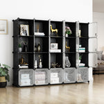 Greenstell Plastic Stackable Cube Storage 20 Portable Closet Cubes Black With Doors