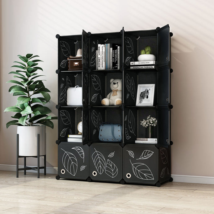 Greenstell DIY Cube Storage 12 Cubes Black With Doors