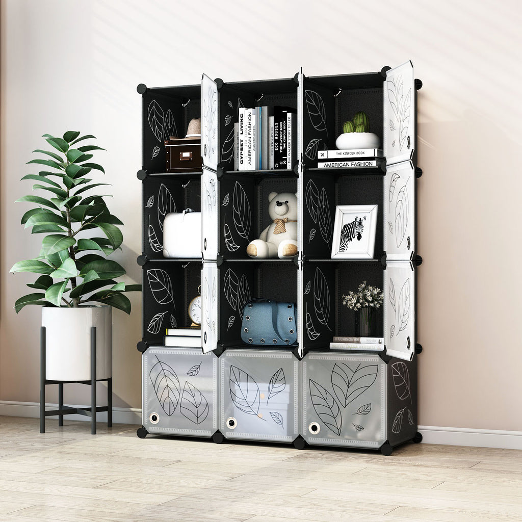 Greenstell Plastic Portable Stackable Cube Storage 12 Closet Cubes Black With Doors