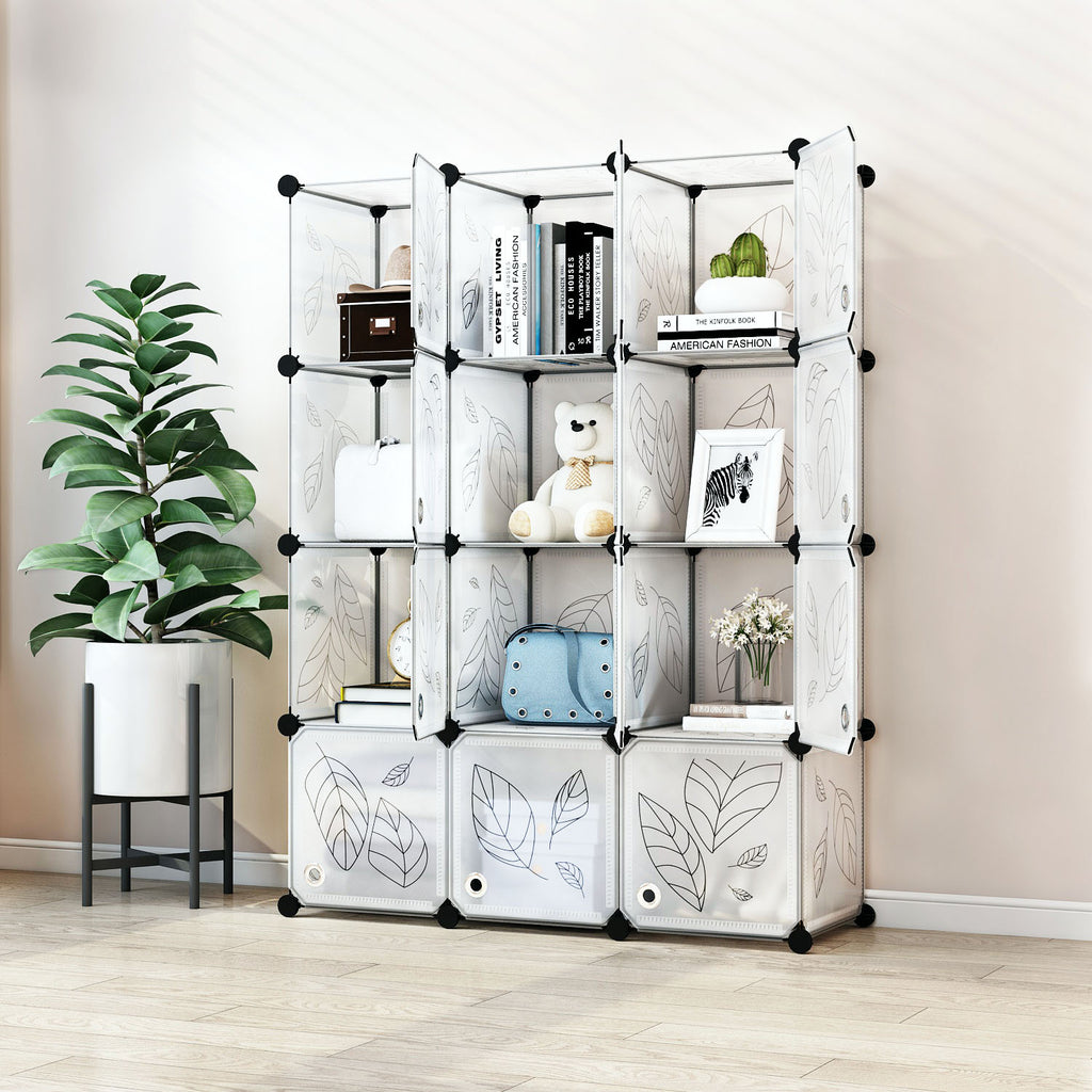 Greenstell Plastic Stackable Cube Storage Organizer 12 Portable Closet Cubes White With Doors