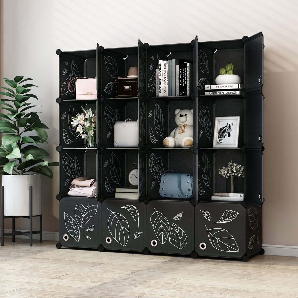 Greenstell Plastic Stackable Cube Storage Organizer 16 Portable Closet Cubes Black With Doors
