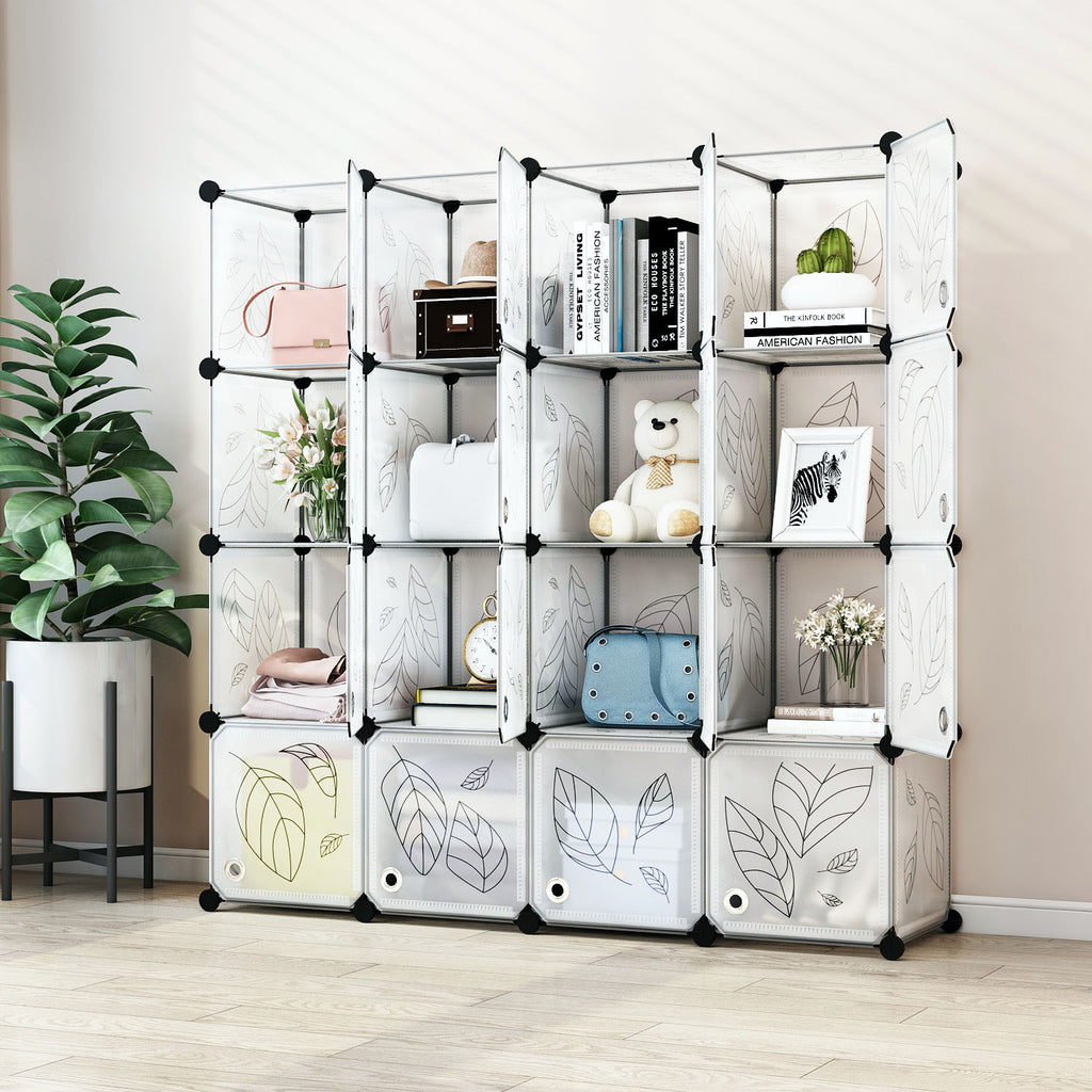 Greenstell Plastic Stackable Cube Storage Organizer 16 Portable Closet Cubes White With Doors