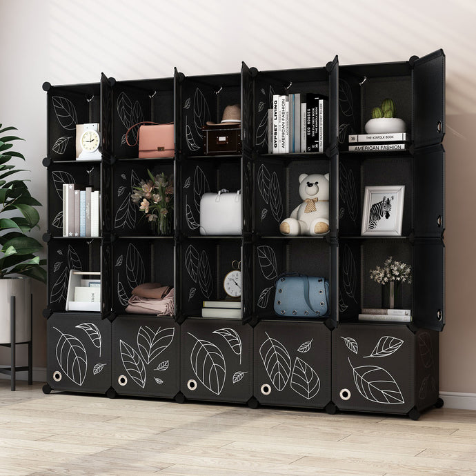 Greenstell DIY Cube Storage 20 Cubes Black With Doors