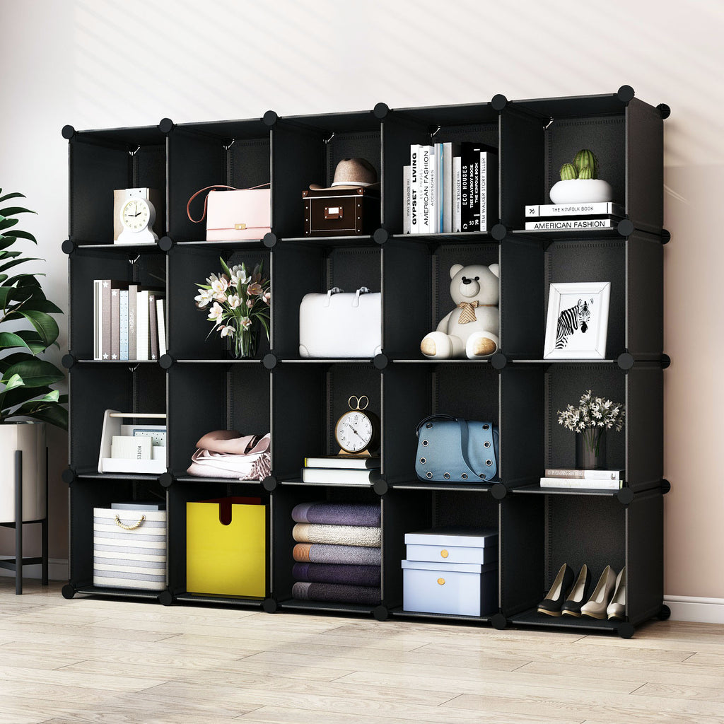 Greenstell Plastic Stackable Cube Storage Organizer 20 Closet Cubes Black