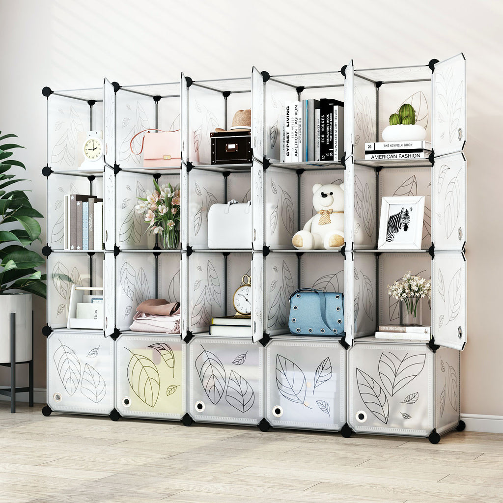Greenstell Plastic Portable Stackable Cube Storage 20 Closet Cubes White With Doors