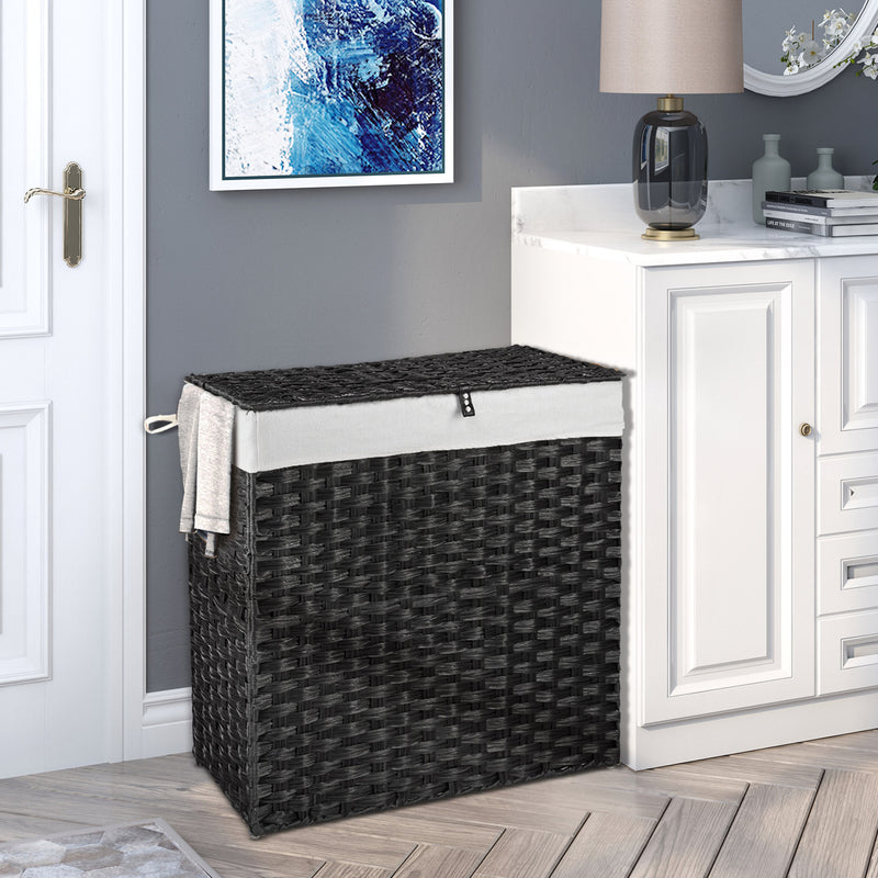 Greenstell Woven Synthetic Rattan Collapsible Laundry Hamper Black Standard