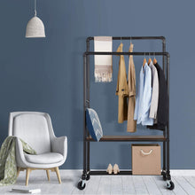 Load image into Gallery viewer, Greenstell Double Rail Adjustable Garment Rack With Shoe Storage (24*39*72/62 in)