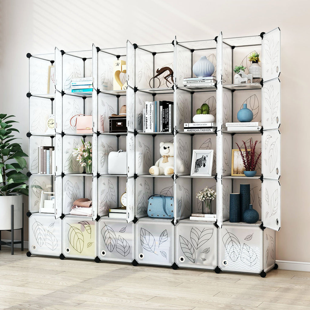 Greenstell Plastic Stackable Cube Storage 30 Portable Closet Cubes White With Doors