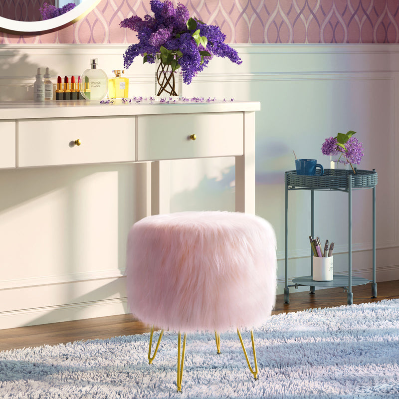 Greenstell White Faux Fur Footrest Storage Ottoman Metal Legs with Foot Pad