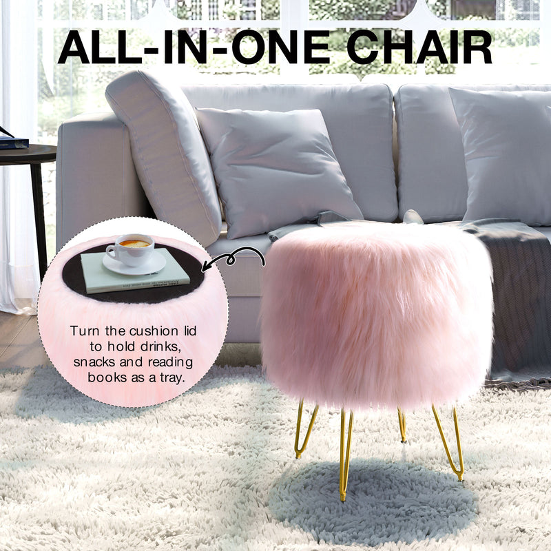 Greenstell Round Storage Ottoman Faux Fur FootStool Metal Legs with Foot Pad