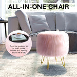 Greenstell Storage Round Faux Fur Footstool Ottoman Metal Legs with Foot Pad