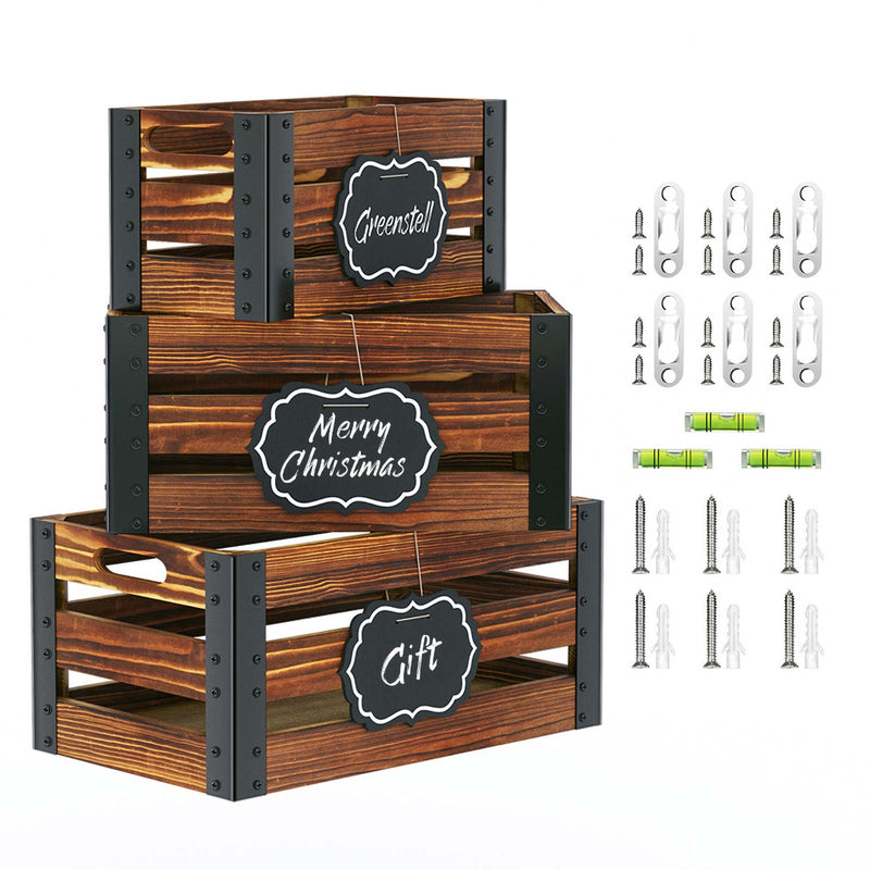 Greenstell Rustic Wooden Crate with Chalkboard, Cutout Handle and Metal Wraps