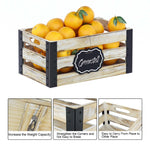 Greenstell Rustic Brown Wooden Nested Crate, Cutout Handle, Chalkboard, Metal Edge