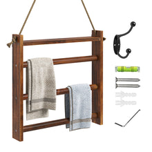 Load image into Gallery viewer, Greenstell Rustic Wood Wall-Hanging Towel Rack Brown