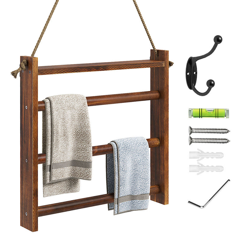 Greenstell Rustic Wood Wall-Hanging Towel Rack Brown Large