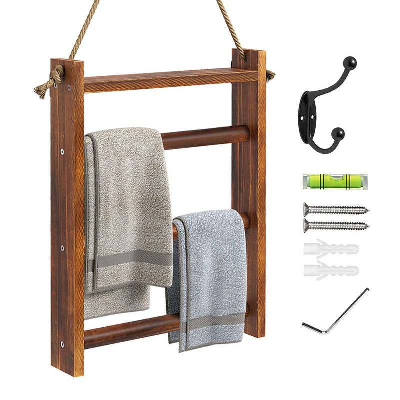 Greenstell Rustic Wood Wall-Hanging Towel Rack Brown Small