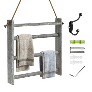 Greenstell Rustic Wood Wall-Hanging Towel Rack Grey